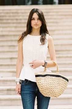 Casual look | Textured white peplum top with denim