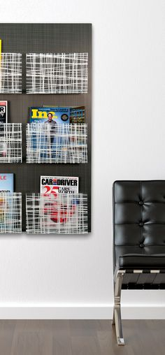 Nest Wall Organizers. Magazine and pamphlet holders are available in multiple configurations both horizontal and vertical. #signage #wayfinding