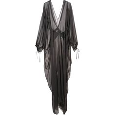Isabel Benenato draped sheer dress ($1,900) ❤ liked on Polyvore featuring dresses, grey, drapey dress, isabel benenato, sheer dress, see-through dresses and grey dress