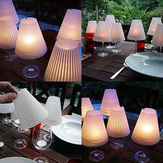 DIY Table lamps using Wine glasses and Tea lites (I would personally use battery operated tea lite candles for this)... But this is beautiful for some elegant backyard dining!