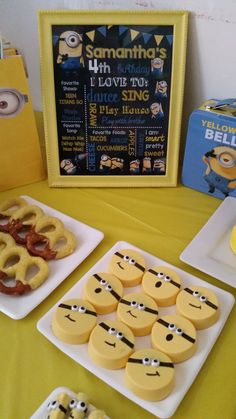 Minions Chalkboard Sign and candy buffet