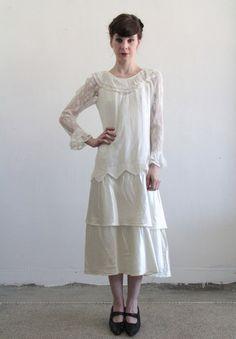 Antique Wedding Dress . Vintage . 1920s . Lace Sleeves . Satin . Flapper Bride