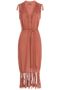 Caravana Cotton Fringe Dress In Red Red Boho Dress, Red V Neck Dress, Red Sleeveless Dress, Bohemian Style Dresses, Fringe Dress, Hippie Dresses, Hippy Dress, Night Outfits, Fashion Outfits