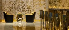Burj Al Arab Jumeirah - Stunning golden wall design with luxury design interior for sitting area Luxury Hotel Design, Luxury Interior Design, Luxury Hotels, Small Accent Chairs, Accent Chairs For Living Room, Dubai, Golf Card Game, Golden Wall, Comfortable Living Room Chairs