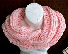 Crochet Scarf Crochet Infinity Scarf Soft Pink Scarf  SNAKE Mobius Crochet Cowl Scarf Strawberry Couture by strawberrycouture by #strawberrycouture on #Etsy