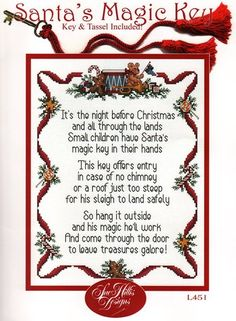 Magic santa key pinterest magic santa santa key and poem santas magic key key tassel included cross stitch spiritdancerdesigns