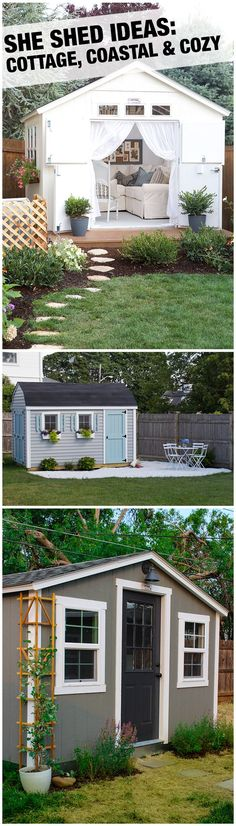 She Sheds are one of the best backyard trends ever! All it takes is a storage shed and some clever decorating ideas to create your own backyard retreat. Let The Home Depot install it for you, and you're one step closer to relaxing in your one-of-a-kind ba Outdoor Sheds, Outdoor Rooms, Outdoor Living, Backyard Retreat, Backyard Landscaping, Backyard Sheds, Garden Sheds, Cabana, Steps Design