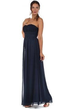 Chiffon Bridesmaids Dress with Ruched Bodice in Navy Blue