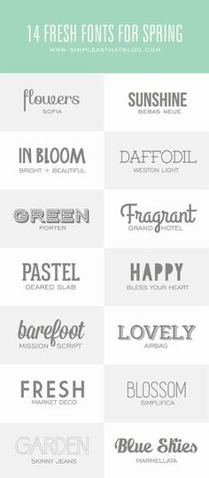 14 Fresh Fonts for Spring - simple as that