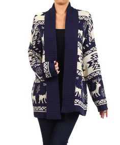 Look what I found on #zulily! Navy Deer Knit Open Cardigan - Women by BellaBerry #zulilyfinds