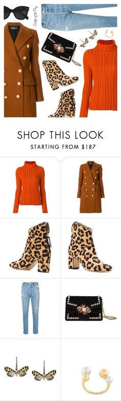"""Outfit of the Day"" by dressedbyrose ❤ liked on Polyvore featuring Salvatore Ferragamo, Balmain, Francesco Russo, RE/DONE, Gucci, Astley Clarke, Federica Tosi, CÉLINE, Petit Bateau and ootd"