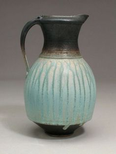 Richard Aerni Pottery. Wheel thrown, high fired stoneware pitcher, glazed with wood ash glazes and crystalline matte
