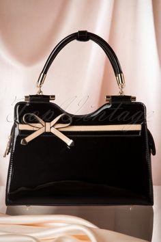 La Parisienne - 40s Audrey Lacquer Bow Handbag in Black