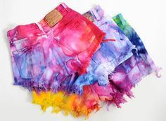 Colorful dip dyed shorts