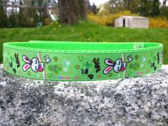 Cute Rabbits green 1 Inch Width Dog Collar by WillyWoofs on Etsy, $18.00