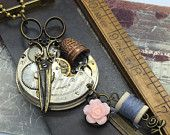 A stich in time Steampunk Necklace Handcrafted artistic steampunk jewelry -The Victorian Magpie