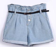 Shorts denim volantes bolsillos con cinturón-Azul EUR19.52