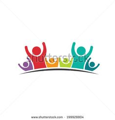 People Six Friends logo image. Concept of Group of People, happy team, victory.