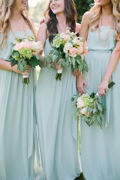 19ed095a4eab Bridesmaids green  damas de honor Dama De Honra