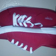 Red sneakers These are red canvas sneakers from Old Navy. Only worn once. Old Navy Shoes Sneakers