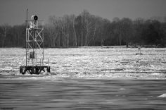 A Frozen-over Delaware River in Andalusia, PA, across to Beverly, NJ.