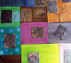 leaf relief project using leaves (or lace!), matte board, tin foil, cheap black spray paint, and steel wool