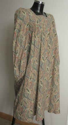 Fabulous-1960s-Liberty-muted-teal-coral-paisley-Juliette-style-smock-dress-S