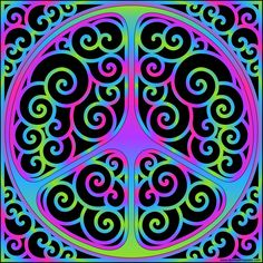 Swirly colorful peace symbol- also available blank for coloring