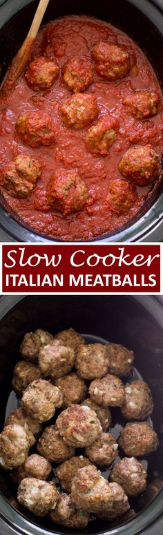 Super Tender Slow Cooker Italian Meatballs Loaded with Parmesan cheese fresh parsley and garlic They melt in your mouth and are incredibly tender Simmered low and slow fo. Crock Pot Slow Cooker, Crock Pot Cooking, Slow Cooker Recipes, Crockpot Meals, Crock Pots, Meat Recipes, Dinner Recipes, Cooking Recipes, Meatball Recipes