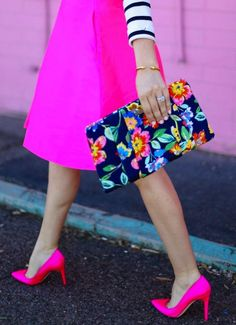 Floral clutch and neon pink