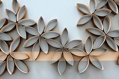 Wall art made out of toilet paper rolls. Who would have thunk it!