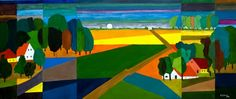 Color study after Ton Schulten photo - Antony Swiderski photos at . Landscape Artwork, Landscape Quilts, Abstract Landscape Painting, Tissue Paper Art, Large Artwork, Contemporary Abstract Art, Dutch Artists, Color Studies, Whimsical Art