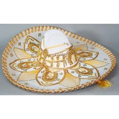 Cinco de Mayo Hats & Headwear White and Gold Mariachi Sombrero Image Mexican Quinceanera Dresses, Mexican Dresses, Quinceanera Ideas, Mariachi Hat, Mexican Party Supplies, Party Table Centerpieces, Fiesta Decorations, Quince Dresses, Velvet Material