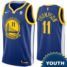 Golden State Warriors Nike Dri-FIT Youth Klay Thompson #11 Swingman Icon  Jersey -