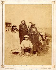 Gardner portrait of (from left to right) Fast Bear, Shotted Tail, John, Long Hair, and Palladay (sitting in the front), at Fort Laramie 1868. Sicangus (Northern Plains Indians)