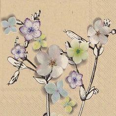 4 Single Lunch Paper Napkins for Decoupage Craft Napkin Jen Flowers linen
