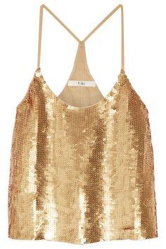 Gold sequined silk-georgette Slips on 100% silk; trim: 100% polyethylene; lining: 100% silk Spot clean