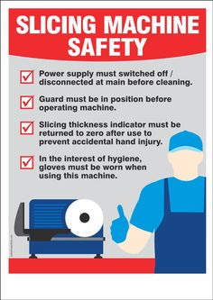 Slicing Machine Safety Tips – Safety Poster Shop Health And Safety Poster, Safety Posters, Safety Management System, Risk Management, Food Safety And Sanitation, Safety Talk, Food Safety Training, Workplace Safety Tips, Food Security