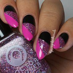 # Black & Pink W / Glitzernde Nail Art - Today Pin # Black & Pink W / Glitzernde Nail Art - Today Pin,Nageldesign # Black & Pink W / Glitzernde Nail Art nails art nails acrylic nails nails Simple Nail Art Designs, Gel Nail Designs, Beautiful Nail Designs, Easy Nail Art, Beautiful Nail Art, Nails Design, Design Design, Funky Nails, Cute Nails