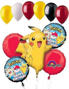 Pokemon Pikachu and Friends Birthday 5 Mylar Balloons Bouquet ~ Party Supplies Pokemon Party, Pokemon Birthday, Minion Party, Pokemon Fan, 5th Birthday Party Ideas, Boy Birthday Parties, Friend Birthday, 10 Birthday, Pokemon Balloons