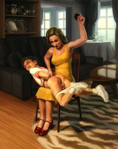 "coolwindblowing:bebadgetspanked:  H-bum is one of those people who is just way too good at making spanking pictures. That being said, this is most definitely my favorite F/m picture at the moment hands down.  Aside from the fact that the image looks great, I really like how the artist depicted the spankee's genitals over his mother's lap. Then there's the clothes they're wearing, the spanker's dress in particular is very ""motherly"".  This image is entitled ""Cheerleader"", and if you look…"