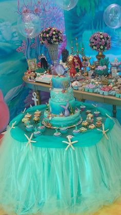 Eva his birthday party Little Mermaid Baby, Little Mermaid Birthday, Little Mermaid Parties, Girl Birthday, Cake Birthday, Birthday Party Decorations, Birthday Parties, Birthday Wishes, Birthday Ideas