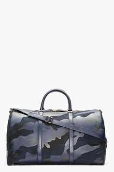 Valentino Navy Camo Print Leather Boston Duffle Bag for men | SSENSE
