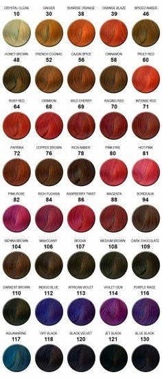 Adore hair color chart colorful hair pinterest colour chart