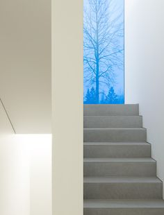 Love the peek of #blue in this floor-to-ceiling window in the #Palmgren #House (by John Pawson).
