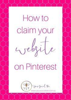 How to claim your website on Pinterest and benefits of claiming. Discover the fastest and easiest way to claim your website on a WordPress website. #Pinterestmarketing #Pinterestbeginners #yoursocialbee Social Media Marketing Business, Seo Marketing, Digital Marketing, Marketing Ideas, Content Marketing, Pinterest Website, Marketing Quotes, Pinterest For Business, Pinterest Marketing