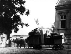 Sopron, Hungary, 1944, Jewish possessions being moved on a cart to the ghetto.