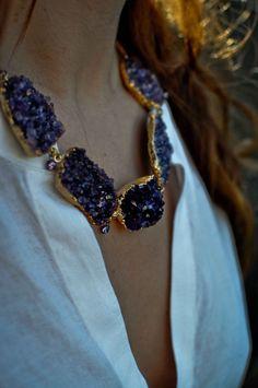 "Image of ""IRIS"" Amethyst Geode Druzy Choker Necklace"