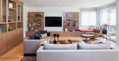 Lovely Living Room Design with Gray Couch