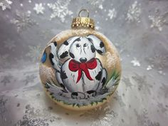 Dog Ornament Handpainted Christmas Whimsical by Barbarasartistry, $15.00